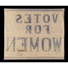 "HOMEMADE SUFFRAGETTE BANNER WITH ""VOTES FOR WOMEN"" TEXT, 1910-20"