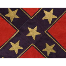 CONFEDERATE 2ND NATIONAL PATTERN FLAG (STAINLESS BANNER), USED BY VETERANS OF JONES, VIRGINIA AT THE 50TH ANNIVERSARY OF THE BATTLE OF GETTYSBURG