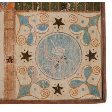 LARGE 19TH CENTURY AMERICAN PARCHEESI BOARD WITH 10 COLORS OF POLYCHROME PAINT AND EXUBERANT GRAPHICS, POSSIBLY YORK COUNTY, PENNSYLVANIA, CA 1880-90