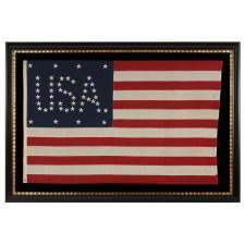"""48 STARS CONFIGURED INTO THE LETTERS """"U.S.A."""", COPYRIGHTED IN 1916 BY C.A. HARTMAN, ONE OF ONLY FOUR KNOWN SURVIVING EXAMPLES AND ONE OF THE MOST INTERESTING DESIGNS KNOWN TO EXIST IN EARLY FLAGS"""
