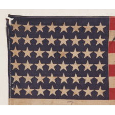 48 STARS ON ANTIQUE AMERICAN FLAG WITH HAND-WRITTEN INSCRIPTIONS AND AN EMBROIDERED DATE OF APRIL 12TH, 1945, MOURNING THE DEATH OF PRESIDENT FRANKLIN DELANO ROOSEVET