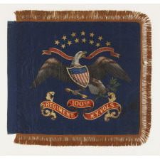 RARE CIVIL WAR PERIOD FEDERAL STANDARD STYLE FLANK GUIDON OF THE 100TH NEW YORK VOLUNTEER INFANTRY, HAND-PAINTED AND GILDED ON SILK, 1862-1865