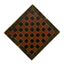 RED & BLACK GAMEBOARD WITH SHADOWED, GOLD SCROLLWORK, CA 1840-1870