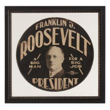 "FRANKLIN D. ROOSEVELT CAMPAIGN TIRE COVER WITH THE TERRIFIC SLOGAN: ""A BIG MAN FOR A BIG JOB,"" MADE IN 1932 FOR THE FIRST OF HIS FOUR SUCCESSFUL CAMPAIGNS FOR THE PRESIDENCY"