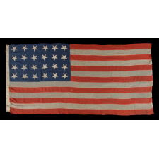 24 STARS AND 13 STRIPES ON A SOUTHERN-EXCLUSIONARY FLAG OF THE CIVIL WAR PERIOD, PROBABLY 1861 OR 1863-64, AN EXTREMELY RARE STAR COUNT, EX-TOM CONNELLY COLLECTION