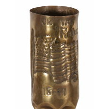 WWI AMERICAN SOLDIER'S TRENCH ART, MADE FROM A 75mm ARTILLERY SHELL IN THE RHINELAND DURING U.S. OCCUPATION, 1918-1919