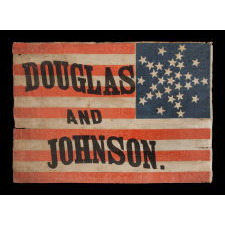 "CAMPAIGN PARADE FLAG MADE FOR THE 1860 PRESIDENTIAL RUN OF NORTHERN DEMOCRAT STEPHEN DOUGLAS, WITH 31 STARS IN AN INTERESTING VARIATION OF THE ""GREAT STAR"" CONFIGURATION AND BOLD LETTERING IN A SERPENTINE FORMAT, THE ONLY EXAMPLE PRESENTLY KNOWN IN THIS LARGE SCALE AMONG ITS COUNTERPARTS"