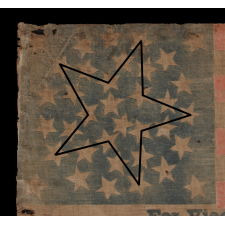 """36 STAR PARADE FLAG, MADE FOR THE 1868 PRESIDENTIAL CAMPAIGN OF GENERAL ULYSSES S. GRANT, WITH GOOD SCALE, LARGE TEXT, AND WITH A RARE """"GREAT-STAR-IN-A-WREATH"""" CONFIGURATION"""