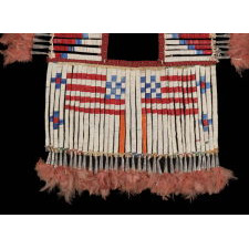 OUTSTANDING, NATIVE AMERICAN, QUILLED, TIN CONE & FEATHERED BREASTPLATE WITH AN INTERESTING BEADED STRAP, PROBABLY LAKOTA SIOUX, CA 1870-80