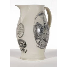 """LIVERPOOL JUG WITH """"PEACE, PLENTY, AND INDEPENDENCE"""" VIEW ON ONE SIDE AND """"AMERICA IN TEARS"""" GEORGE WASHINGTON MEMORIAL ON THE OTHER, LARGE AND IN PERFECT CONDITION, HERCULANEUM POTTERY, 1800-1805"""