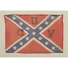 "RECTANGULAR VERSION OF THE CONFEDERATE BATTLE FLAG / SOUTHERN CROSS FORMAT, A PARADE FLAG WITH A ""UCV"" (UNITED CONFEDERATE VETERANS) OVERPRINT, IN A STYLE THOUGHT TO HAVE BEEN MADE FOR THE LAST REUNION OF CONFEDERATE SOLDIERS IN 1951"