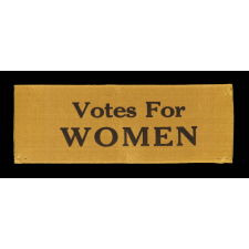 """SILK SUFFRAGETTE RIBBON WITH """"VOTES FOR WOMEN"""" TEXT, 1910-1920"""
