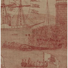 EXTRAORDINARY KERCHIEF COMMEMORATING THE RETURN OF LAFAYETTE TO THE UNITED STATES IN 1824, PRESENTLY ONE-OF-A-KIND AMONG KNOWN EXAMPLES, ATTRIBUTED TO SCOTTISH-AMERICAN TEXTILE MANUFACTURER COLIN GILLESPIE