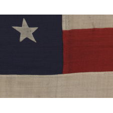 "38 STARS IN A ""NOTCHED"" PATTERN ON A CLAMP-DYED AMERICAN FLAG OF THE 1876-1889 PERIOD, REFLECTS COLORADO STATEHOOD, MADE BY THE U.S. BUNTING COMPANY IN LOWELL, MASSACHUSETTS"