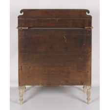 COUNTRY SHERATON TRANSITIONAL CHEST OF DRAWERS WITH STENCILED AND HAND-PAINTED DECORATION ON A WHITE GROUND, MAINE ORIGIN, CA 1830-50