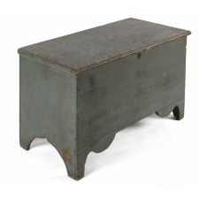 BLUE PAINTED MAINE BLANKET CHEST IN BLUE PAINT WITH BEAUTIFULLY SCALLOPED FEET, CA 1800-1820