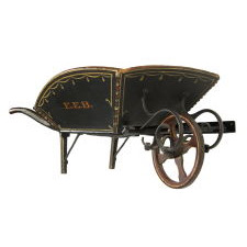 PAINT-DECORATED, CARRIAGE-STRIPED, CHILD'S WHEELBARROW, WITH EXCEPTIONAL IRON WORK AND PAINT-DECORATED SURFACE, ATTRIBUTED TO A SLEDMAKER IN PARIS HILL, MAINE, CA 1870-90