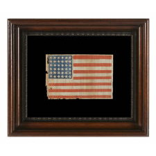 CIVIL WAR ERA ANTIQUE AMERICAN PARADE FLAG WITH 36 STARS IN DANCING ROWS, 1864-1867, REFLECTS NEVADA'S ADDITION AS THE 36TH STATE
