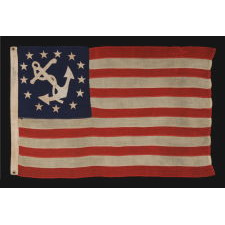 """ANTIQUE AMERICAN PRIVATE YACHT FLAG (ENSIGN) WITH 13 STARS, MARKED """"U.S. ARMY STANDARD BUNTING"""", 1895-1910 ERA"""