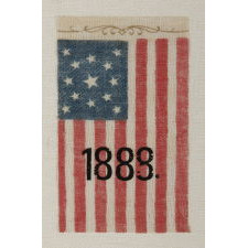 13 STAR, CENTENNIAL ERA, ANTIQUE AMERICAN PARADE FLAG WITH UNUSUAL OVERPRINTED 1888 DATE AND SCROLL WORK, PROBABLY MADE FOR A BENJAMIN HARRISON RALLY IN THIS PRESIDENTIAL ELECTION YEAR