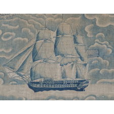 RARE AND EARLY YARD GOODS TEXTILE, MADE FOR THE 1829 INAUGRATION OF ANDREW JACKSON, ROLLER PRINTED IN A STRIKING SHADE OF CORNFLOWER BLUE