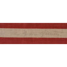 "42 STARS, AN UNOFFICIAL STAR COUNT, ON AN ANTIQUE AMERICAN FLAG WITH SCATTERED STAR POSITIONING, SIGNED ""MRS. G.M. GILLETTE,"" 1889-1890, WASHINGTON STATEHOOD"
