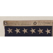 48 STAR, U.S. NAVY SMALL BOAT ENSIGN, MADE AT MARE ISLAND, CALIFORNIA [HEADQUARTERS OF THE PACIFIC FLEET] DURING WWII, SIGNED AND DATED JULY 1942, WITH EXTENSIVE WEAR FROM OBVIOUS USE
