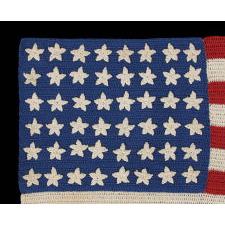 48 STARS, CROCHETED, A BEAUTIFUL EXAMPLE, WWI - WWII ERA