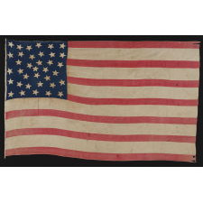 36 STARS, A HOMEMADE FLAG OF THE CIVIL WAR ERA WITH AN EXCEPTIONAL RANDOM STAR PATTERN AND GREAT DISPARITY BETWEEN THE WIDTH OF THE RED AND WHITE STRIPES, NEVADA STATEHOOD, 1864-67