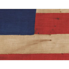 "34 STARS IN 3 DIFFERENT SIZES, ARRANGED IN THE ""GREAT STAR"" OR ""GREAT LUMINARY"" PATTERN ON A LARGE SCALE CIVIL WAR PERIOD PARADE FLAG, 1861-1863, KANSAS STATEHOOD"