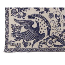 "BLUE & WHITE ""LIBERTY"" COVERLET, MADE IN 1849 FOR AURISSA A. GILLETT BY WEAVER JAMES VANNESS, IN PALMYRA, NEW YORK, A VERY SCARCE VARIETY WITH EXCEPTIONAL IMAGERY"