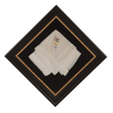 "SILK HANDKERCHIEF WITH HAND-EMBROIDERED IMAGE OF A SUFFRAGETTE AND ""VOTES FOR WOMEN"" SLOGAN, 1910-1920"