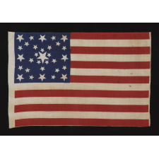 "31 STARS IN A FANCIFUL STARBURST OR ""GREAT STAR-IN-A-SQUARE"", ONE OF THE MOST RARE AND INTERESTING CONFIGURATIONS THAT A COLLECTOR CAN ENCOUNTER, ON A PRE-CIVIL WAR PARADE FLAG, CALIFORNIA STATEHOOD, 1850-1858"