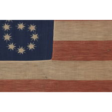 "ANTIQUE AMERICAN FLAG WITH 10-POINTED STARS THAT SPELL ""1776 – 1876"", MADE FOR THE 100-YEAR ANNIVERSARY OF AMERICAN INDEPENDENCE, ONE OF THE MOST GRAPHIC OF ALL EARLY EXAMPLES"