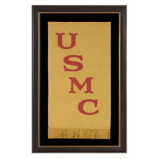 RARE UNITED STATES MARINE CORPS BANNER OF THE 1910-1920's ERA, MADE OF SATIN SILK WITH STRONG COLOR AND ATTRACTIVE LETTERING