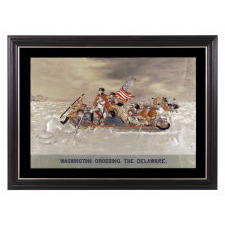 "MAGNIFICENT EMBROIDERY WITH A TRAPUNTO (RAISED) NEEDLEWORK RENDERING OF EMANUEL GOTTLIEB LEUTZE'S ""WASHINGTON CROSSING THE DELAWARE,"" LIKELY FROM AN ORIENTAL PAVILLION AT A WORLD'S FAIR, CA 1885-1900, UNIQUE IN MY EXPERIENCE IN THE PRIVATE MARKETPLACE"