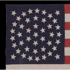 44 STARS ON A LARGE SCALE PARADE FLAG, WYOMING STATEHOOD, 1890-1896, RARE IN THIS PERIOD WITH A WREATH CONFIGURATION