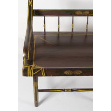 PENNSYLVANIA, PAINT-DECORATED SETTEE WITH BOLD, CHROME YELLOW PINSTRIPING AND FLORAL DECORATION, 1845-1865
