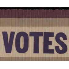 """SILK SUFFRAGETTE SASH RIBBON IN VIOLET & GREEN WITH """"VOTES FOR WOMEN"""" TEXT, MADE FOR THE WOMEN'S POLITICAL UNION IN NEW YORK CITY, 1910-1915"""