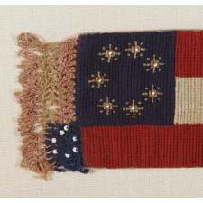 CONFEDERATE 1st NATIONAL (STARS & BARS) PATTERN NEEDLEWORK BOOK MARK / BIBLE FLAG WITH 7 STARS AND EXTRAORDINARY FOLK QUALITIES, 1861