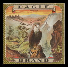 EAGLE BRAND TOBBACCO CADDY LABEL, CA 1880
