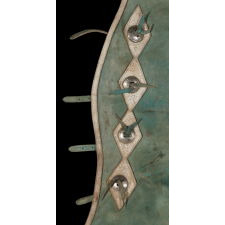 LEATHER CHAPS WItH NICKEL-PLATED CONCHOS, BLUE-GREEN AND WHITE WITH WONDERFUL WEAR AND PATINA, MADE FOR THE GEER RODEO COMPANY OF MANTANA, ca 1960 - 1970's