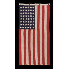 48 STAR, U.S. NAVY SMALL BOAT ENSIGN, MADE AT MARE ISLAND, CALIFORNIA DURING WWII, SIGNED AND DATED 1944