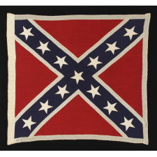 "CONFEDERATE SOUTHERN CROSS ""BATTLE FLAG"", A SCARCE, UNUSUALLY ACCURATE AND GRAPHICALLY PLEASING, REUNION PERIOD EXAMPLE, SIGNED ""WOLVERINE,"" SHERRITT FLAG CO., RICHMOND, VA, 1922-WWII ERA"
