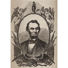 """""""A NATION'S LOSS"""": SILK, 1865, ABRAHAM LINCOLN MOURNING RIBBON IN AN ESPECIALLY ATTRACTIVE PORTRAIT DESIGN"""