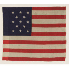 13 STAR U.S. MILITARY CAMP COLORS, PRESS-DYED ON WOOL BUNTING, CIVIL WAR OR EARLY INDIAN WARS PERIOD, 1861-1876, ONE OF JUST THREE KNOWN EXAMPLES