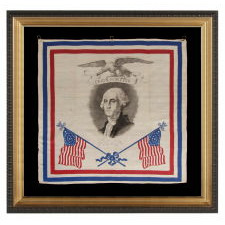 "PATRIOTIC SILK KERCHIEF OF THE CIVIL WAR PERIOD, WITH AN ENGRAVED IMAGE OF GEORGE WASHINGTON, CROSSED 34 STAR FLAGS, AN EAGLE, AND ""UNION FOREVER"" SLOGAN"