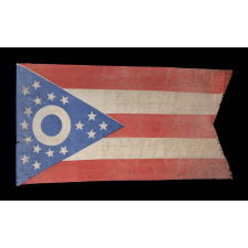 EARLY OHIO STATE FLAG WITH A BLUE DISC INSIDE THE BUCKEYE, AN EXTREMELY RARE AND BEAUTIFUL EXAMPLE, MADE IN THE EARLIEST POSSIBLE PERIOD, IMMEDIATELY FOLLOWING ITS DESIGN BY CLEVELAND ARCHITECT JOHN EISENMANN AND ACCEPTANCE BY THE OHIO STATE LEGISLATURE, CA 1902 - 1915