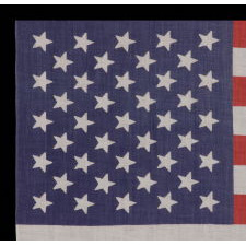 ANTIQUE AMERICAN FLAG WITH 41 STARS, AN UNOFFICIAL STAR COUNT, ACCURATE FOR JUST 3 DAYS AND AMONG THE MOST RARE EXAMPLES OF THE 19TH CENTURY, MONTANA STATEHOOD, CA 1889