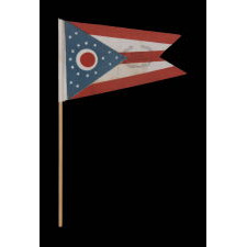 OHIO STATE FLAG WITH CIVIL WAR VETERANS' OVERPRINT FROM THE GRAND ARMY OF THE REPUBLIC POST IN COLUMBUS, MADE IN MOURNING OF THE 1925 PASSING OF NATIONAL G.A.R. COMMANDER IN CHIEF DANIEL M. HALL, WHO ALSO SERVED AS COMMANDER OF THE OHIO DEPARTMENT OF THE G.A.R., AS WELL AS THE LOCAL CHAPTER